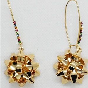 Betsey Johnson holiday bow earrings.